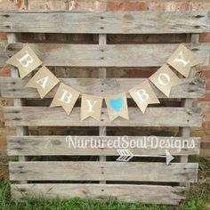 Baby Shower Bunting/ Burlap Baby Shower by NurturedSoulDesigns, $23.50