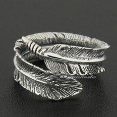 Size Adjustable 925 Sterling Silver Feather Mens Rocker Ring 8S012A US 7.5~10.5 #Unbranded #RockerBikerJewellery
