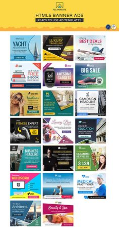 Animated Banner Ads Collection - Value Saver (Ad Templates) Social Media Branding, Social Media Design, Social Media Graphics, Banner Design Inspiration, Ad Banner Design, Digital Banner, Education Banner, Fabric Banners, Web Banners