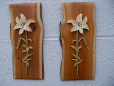 https://flic.kr/p/9vQcL4 | Intarsia Lilies | Holly flowers, poplar stem and leaves.  Apple wood slab.