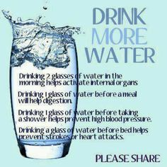 Drink More Water..  Did you know? Water is your body's most important nutrient, it is involved in every bodily function, and makes up 70-75% of your total body weight. Water helps you to maintain body temperature, metabolize body fat, aids in digestion, lubricates and cushions organs, transports nutrients, and flushes toxins from your body.  Don't forget to pass this to everyone around..