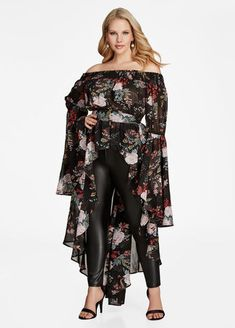 Plus Size Shirts - Off Shoulder Off the Shoulder Smocked Neck Long Sleeve Flounce Sleeve Button Front Hi Lo Floral Print Duster Top Blouse Shirt Unique Fashion, Plus Size Dresses, Plus Size Outfits, Long Length Shirts, Dresser, Plus Size Shirts, Plus Size Kleidung, Moda Plus Size, Feminine Style