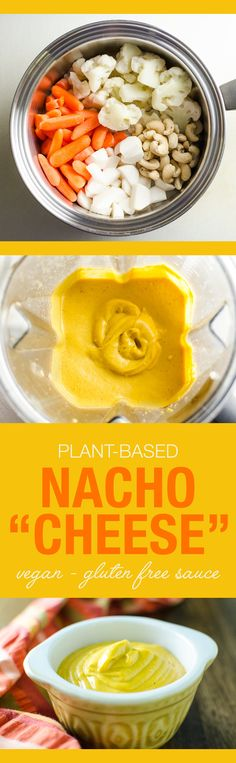 A simple mix of vegetables and spices creates a creamy texture and delicious flavor in this dairy free plant-based nacho cheese sauce recipe. (V and GF)