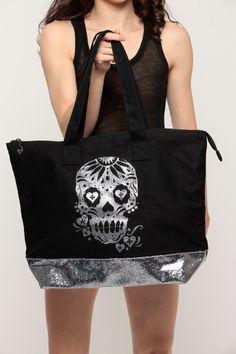 2c692939daf Glitter Sugar Skull Tote Cheap Handbags, Handbags Online, Oversized  Handbags, Skull Purse,