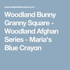 Woodland Bunny Granny Square - Woodland Afghan Series - Maria's Blue Crayon