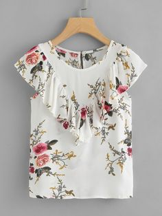 Product name: Floral Print Ruffle Top at SHEIN, Category: Blouses Frock Design, Blouse Styles, Blouse Designs, Curvy Outfits, Fashion Outfits, Baby Frocks Designs, Stylish Dresses For Girls, Floral Tops, Denim Shirt Dress