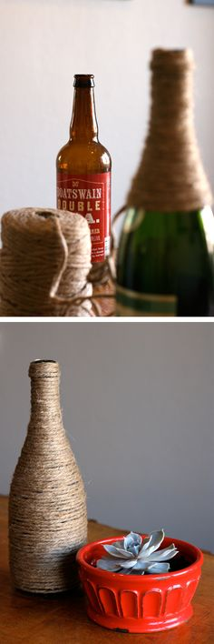 DIY Twine-Wrapped Centerpiece. Country Chic!