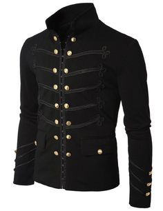 Men Black Embroidery Military Napoleon Hook Jacket 100% Cotton #Handmade #BasicJacket