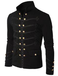 Men Black Embroidery Military Napoleon Hook Jacket 100% Cotton #Handmade #BasicJacket