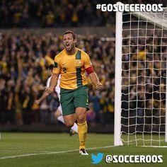 Celebrating Lucas Neill's first ever Socceroos goal - 11 June 2013 vs Jordan, Melbourne