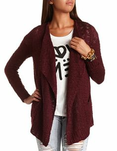 Open-Front Slub Cardigan: Charlotte Russe Cardigan Outfits, Casual Outfits, Cute Outfits, Fashion Outfits, Style Wish, Style Me, Maroon Cardigan, Red Skinny Jeans, Cute Dresses