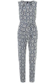 11 Plus-Size Jumpsuits That Are Easily Your Favorite Go-Tos #refinery29  http://www.refinery29.com/plus-size-jumpsuits#slide8  Dorothy Perkins Blue Damask Jumpsuit, $62.10, available at Dorothy Perkins, up to size 18.