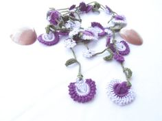 Women Flowers  Colorful necklace crochet lariat by vyldanstyle