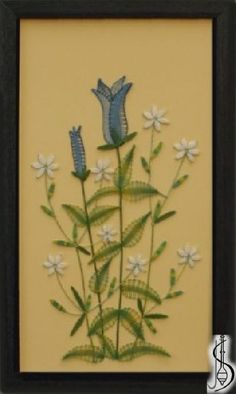Blossom-gentiana No. 10161     Blue frame with glass, dimensions 23 x 38 cm, frame selection: yellow, blue, green, red, cinnamon, colored / white lace Price: € 61  ............................  Protected by copyright!