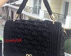 Crochet backpack Bobble Stitch made of polyester cord yarn in black color. Backpack sizes cm, height 35 cm, 60 cm long strap or inches. Crochet Shoulder Bags, Crochet Backpack, Bobble Stitch, Macrame Cord, Plastic Canvas, Crochet Woman, Cotton Bag, Beautiful Bags, Pink Purple