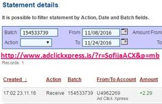 Here is my #92 Withdrawal Proof from Ad Click Xpress. I get paid daily and I can withdraw daily. Online income is possible with ACX, who is definitely paying - no scam here. I WORK FROM HOME less than 10 minutes and I manage to cover my LOW SALARY INCOME. If you are a PASSIVE INCOME SEEKER, then AdClickXpress (Ad Click Xpress) is the best ONLINE OPPORTUNITY for you. Join for FREE and get 20$ + 10$ + 5$ Monsoon, Ad and Media value packs from ACX.