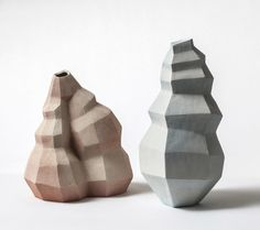Inspired by geological structures and crystal formations, 'Faceted Shapes' is a collection of minimalist yet expressive objects designed by Turi Heisselberg Pedersen. Ceramic Tableware, Ceramic Pottery, Pottery Art, Keramik Design, Elements And Principles, Keramik Vase, Pottery Sculpture, Ceramic Sculptures, Ceramics Projects
