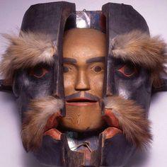 Kwakwaka'wakw Transformation Mask, 19th century, red cedar, fur, leather, paint, abalone shell, string.