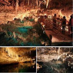 Bermuda~The Crystal Cave is a 55 feet deep blue underground lake found on the island of Bermuda. The cave features a variety of formations that include: soda straws and stalactites. The water is crystal clear allowing visitors to view formations at the bottom of the 55 feet deep underground lake