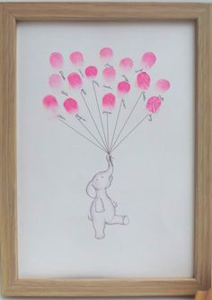 Friends and family can create lovely art work and keepsake for a new baby using their thumbprints that become a bunch of floating balloons. A fun activity to do at a baby shower.