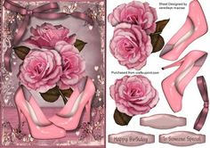 Lovely Roses and pink shoes  on Craftsuprint designed by Ceredwyn Macrae - A lovely card to make and give to anyone on there special day, Lovely Roses and pink shoes a lovely card has two greeting tags and a blank one for you to choose the sentiment, - Now available for download!