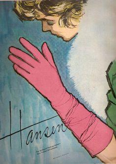 Hansen Gloves Advertisement, 1959.