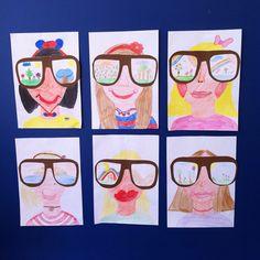 Gözlüğümden yansıyanlar Cool Art Projects, Projects For Kids, Art N Craft, Kindergarten Art, 3 Arts, Teaching English, Art School, Art Lessons, Art For Kids