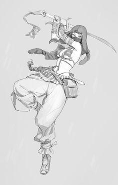 ArtStation - Sword Sketches, Tim Löchner Female/ Sword fighter/ Middle Eastern Clothing