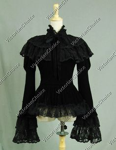 Gothic Victorian Romantic Velvet Ruffle Peplum Blouse Top Steampunk Theatre Costume