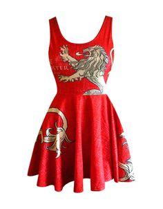 """Vestido Casa Lannister, logo. Juego de Tronos Estupendo vestido en rojo,  ajustado con la falda amplia y corto con la imagen del logo de la Casa Lanniser, uno de los reinos de la gran serie """"Juego de Tronos""""."""
