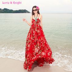 Women's Full Circle Flower Print Chiffon Spaghetti Strap Long Dress Boho Summer Travel Beach Dress RED Online Shopping at a cheapest price for Automotive, Phones & Accessories, Computers & Electronics, Fashion, Beauty & Health, Home & Garden, Toys & Sports, Weddings & Events and more; just about anything else
