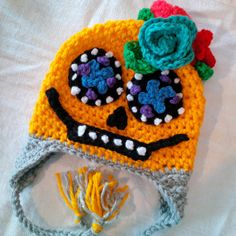 Crochet Sugar Skull Hat Pattern #mysugarskullscom #mysugarskulls #sugarskull #candyskulls #dayofthedead #diadelosmuertos #sugarskullcostumes #sugarskullhoodies #sugarskullbags #sugarskullshirts #sugarskullwallets #sugarskullrings #sugarskullornaments #mexicanskulls