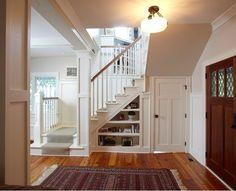 craftsman interior, using space under stairs