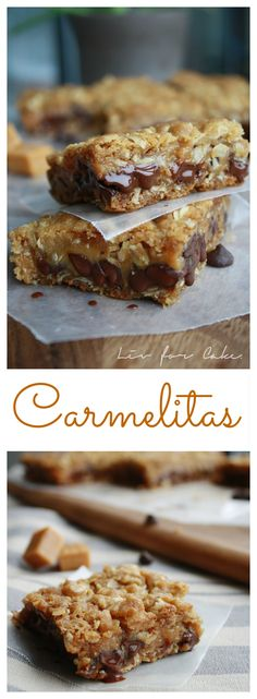 Carmelitas! Chocolate and caramel sandwiched in an oatmeal cookie crust. | livforcake.com