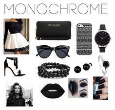 """""""Monochrome Madness"""" by hilaryscragg on Polyvore featuring Alexandre Birman, Michael Kors, Le Specs, Uncommon, Lord & Taylor, Bling Jewelry, Olivia Burton, BERRICLE, Lime Crime and monochrome"""