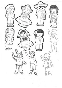 Missões para Crianças Multicultural Activities, Sunday School Coloring Pages, Around The World Theme, Cute Coloring Pages, International Day, Colorful Pictures, Paper Dolls, Religion, Culture