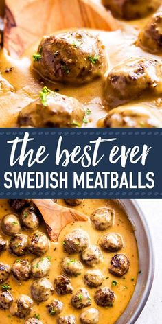 Easy Swedish Meatballs are homemade meatballs in a rich brown gravy sauce. - Easy Swedish Meatballs are homemade meatballs in a rich brown gravy sauce. They're simple to make - Ground Beef Recipes, Pork Recipes, Cooking Recipes, Bobby Flay Recipes, Easy Meat Recipes, Cheap Recipes, Meatloaf Recipes, Recipies, Healthy Recipes
