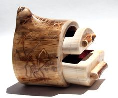 Wood Log Jewelry Box Carved Aspen Lined Natural Wood Grain Reclaimed Repurposed Reused Tree for the Forrest Princess Fairy