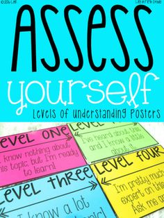 We all know how important it is for students to be aware of their thinking and self assessing using levels of understanding is a wonderful strategy to get their metacognition engaged! Here's how I use these posters:Display these posters somewhere the students can refer to themBEFORE you teach a lesson, as you introduce the topic, have students write a number on their paper that shows their understanding on the topic.