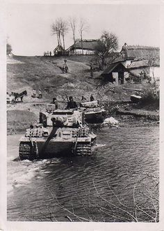 German Armour fording a stream.