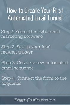 Learn how to set up an effective email funnel and save tons of time! http://bloggingyourpassion.com/create-first-automated-email-funnel/?utm_campaign=coschedule&utm_source=pinterest&utm_medium=Jonathan%20Milligan%20%7C%20Blogging%20Your%20Passion%20%7C%20Tips%2C%20Strategies%20and%20Ideas&utm_content=How%20to%20Create%20Your%20First%20Automated%20Email%20Funnel