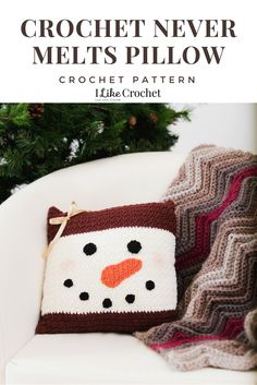 """Decorate your home for the winter season with this adorable snowman pillow. Made in traditional colors, this pillow can be used not only for the Christmas season but all winter long! Crochet Christmas Decorations, Christmas Crochet Patterns, Holiday Crochet, Christmas Knitting, Crochet Home, Crochet Gifts, Crochet Cushion Cover, Crochet Pillow Pattern, Crochet Cushions"