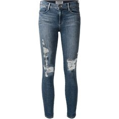 Frame Denim distressed skinny jeans (65.975 HUF) ❤ liked on Polyvore featuring jeans, pants, bottoms, pantalones, jeans/pants, ripped skinny jeans, distressed skinny jeans, skinny leg jeans, blue skinny jeans and blue jeans