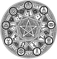 This is a seal I have been working on, it is based on the 9 schools of magic in the Dungeons and Dragons game universe. Magic Seal of 9 Occult Symbols, Magic Symbols, Occult Art, Ancient Symbols, Sigil Magic, Alchemy Tattoo, Alchemy Art, Summoning Circle, Sacred Geometry Tattoo