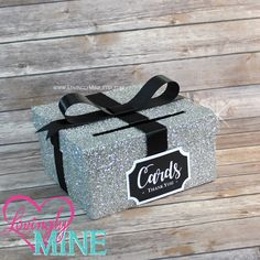 Card Box Glitter Silver and Black Gift Money Box for Any Event - Baby Shower, Wedding, Bridal Shower, Birthday Party, Sweet 16 by LovinglyMine on Etsy