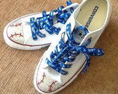 Baseball or Softball Swaroski Bling ed Converse . Baseball Fashion, Baseball Gear, Baseball Shoes, Baseball Mom, Baseball Jewelry, Royals Baseball, Bling Converse, Converse All Star, Converse Shoes