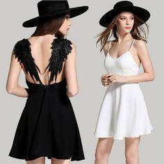 Summer dress 2017 ocasional delgado backless atractivo negro encaje blanco alas de ángel vestidos de las mujeres de la correa de espagueti de la playa vestidos de fiesta en Vestidos de Ropa y Accesorios de las mujeres en AliExpress.com | Alibaba Group