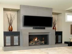 Contemporary Fireplace Designs With Tv Above Home Design Ideas
