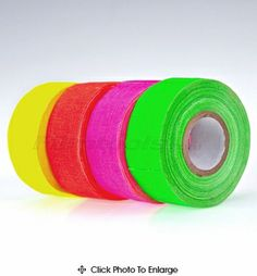 """microGaffer Gaff Tape 4-Roll MultiPack - 1"""" x 8 yds. Fluorescent. Great for writing on and marking cameras, equipment, and color coding."""