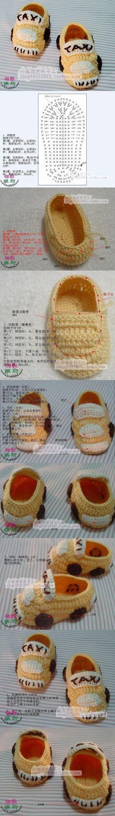 Crochet Slippers Taxi - Chart